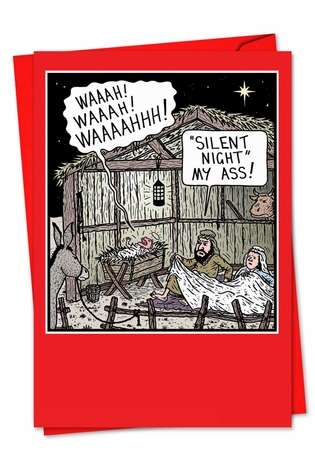 Hilarious Christmas Paper Card by Tony Zuvela from NobleWorksCards.com - Silent Night My Ass