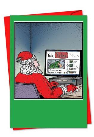 Humorous Christmas Greeting Card by Tony Zuvela from NobleWorksCards.com - Yule Tube