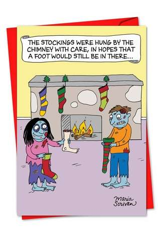 Hysterical Christmas Greeting Card by Maria Scrivan from NobleWorksCards.com - Zombie Stockings