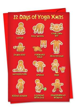 Funny Christmas Printed Card by Daniel Collins from NobleWorksCards.com - Yoga Xmas