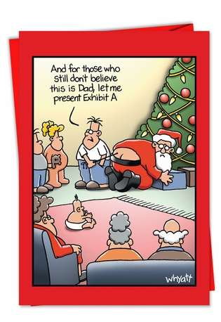 Humorous Christmas Printed Greeting Card by Tim Whyatt from NobleWorksCards.com - Exhibit A