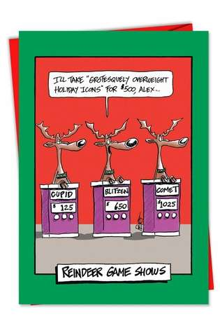 Hilarious Christmas Printed Card by Jeff Pert from NobleWorksCards.com - Reindeer Gameshow