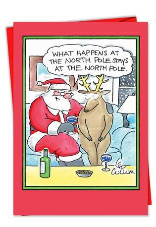 Hysterical Christmas Printed Greeting Card by Leo Cullum from NobleWorksCards.com - Secret Santa