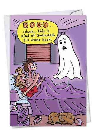 Funny Halloween Paper Greeting Card by Stanley Makowski from NobleWorksCards.com - Awkward Boo