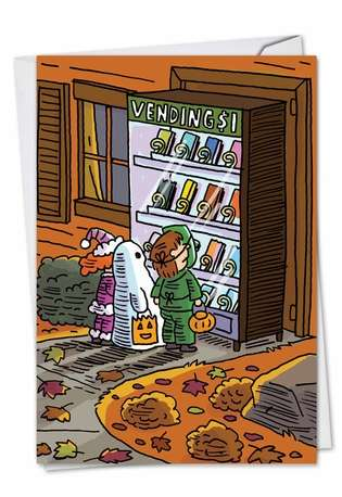 Hilarious Halloween Printed Greeting Card by Stanley Makowski from NobleWorksCards.com - Halloween Vending Machine