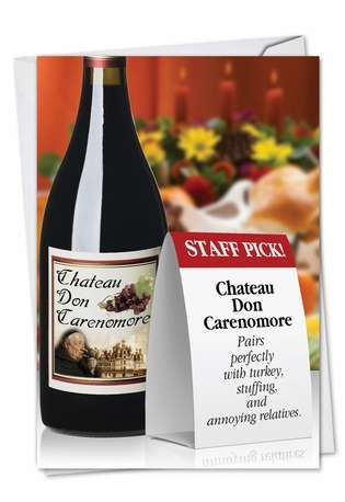 Hysterical Thanksgiving Greeting Card from NobleWorksCards.com - Wine Pairing