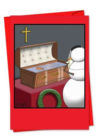 Hysterical Christmas Printed Greeting Card by Tim Whyatt from NobleWorksCards.com - Snowman Coffin