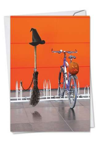 Funny Halloween Paper Card from NobleWorksCards.com - Broom Bicycle Rack