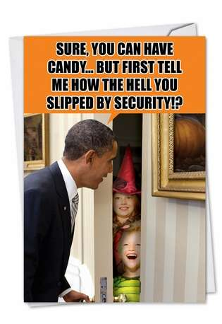 Humorous Halloween Printed Greeting Card from NobleWorksCards.com - Obama Trick or Treat