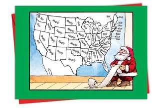 Hilarious Christmas Printed Greeting Card by William Bramhall from NobleWorksCards.com - Naughty Nice Map