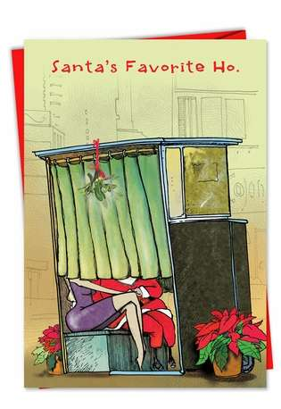 Humorous Christmas Paper Greeting Card from NobleWorksCards.com - Santas Favorite Ho