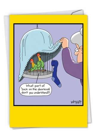 Funny Birthday Printed Greeting Card by Tim Whyatt from NobleWorksCards.com - Sock On The Doorknob