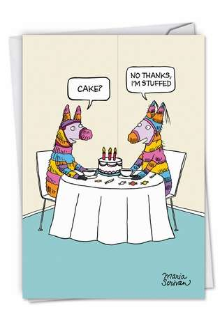Hysterical Birthday Greeting Card by Maria Scrivan from NobleWorksCards.com - Stuffed Pinata