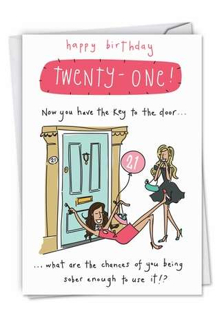 Key To The Door 21: Hilarious Birthday Greeting Card