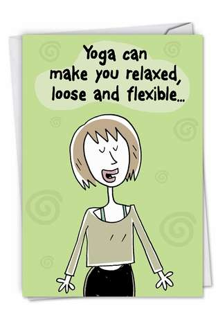 Benefits of Yoga: Funny Birthday Paper Greeting Card