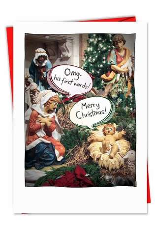Jesus First Words Unique Inappropriate Humor Merry Christmas Card Nobleworks