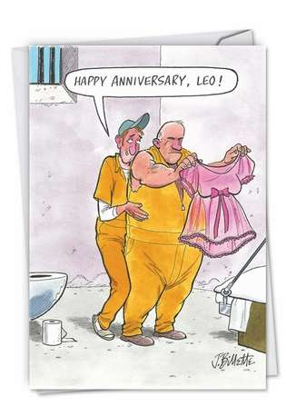 Humorous Anniversary Greeting Card by John Billette from NobleWorksCards.com - Prison Love