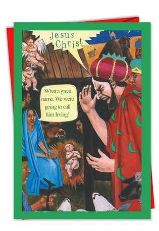 Humorous Christmas Paper Card from NobleWorksCards.com - Name Him Irving