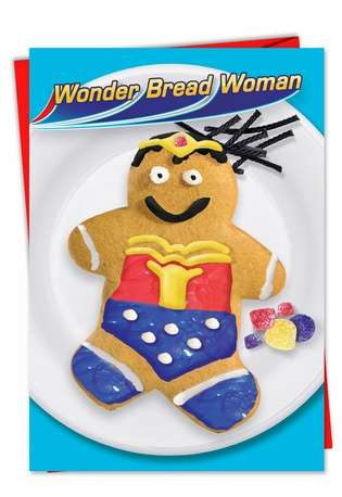 Hysterical Christmas Printed Greeting Card from NobleWorksCards.com - Wonderbread Woman