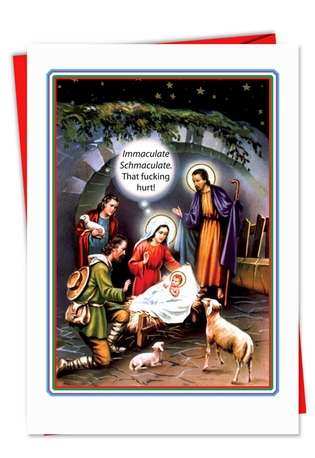 Humorous Christmas Printed Card from NobleWorksCards.com - Immaculate Hurts