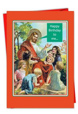 Funny Christmas Printed Greeting Card from NobleWorksCards.com - Happy Birthday To Me