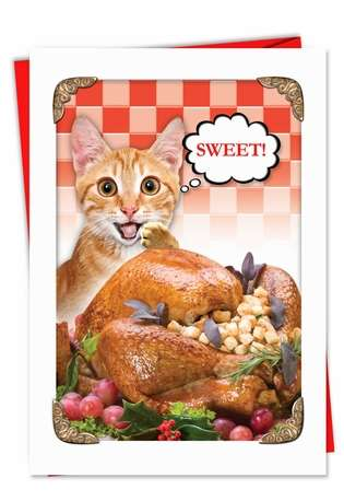 Hilarious Christmas Paper Greeting Card from NobleWorksCards.com - Sweet Kitten