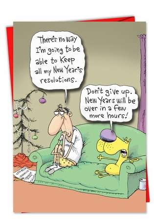 Humorous New Year Greeting Card by Glenn McCoy from NobleWorksCards.com - Keeping Resolutions