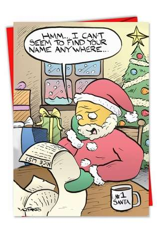 Humorous Christmas Paper Card by Nate Fakes from NobleWorksCards.com - Not On List