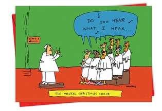 Funny Christmas Printed Card by John Callahan from NobleWorksCards.com - Mental Choir