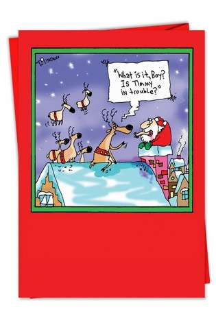Santa Timmy Trouble: Funny Christmas Paper Card