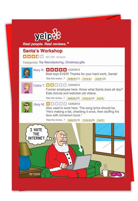 Santa Yelp Page: Funny Christmas Printed Greeting Card