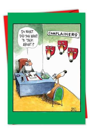 Humorous Christmas Printed Greeting Card by Glenn McCoy from NobleWorksCards.com - Complainers