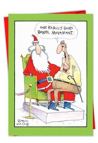 Hilarious Christmas Greeting Card by Glenn McCoy from NobleWorksCards.com - One Good BM