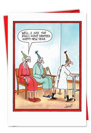 Funny New Year Printed Greeting Card by Tom Cheney from NobleWorksCards.com - Balls Dropped