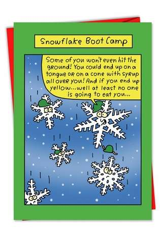 Humorous Christmas Paper Card by Stanley Makowski from NobleWorksCards.com - Snowflake Boot Camp