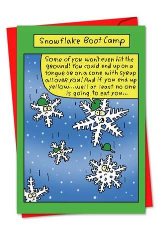 Hilarious Blank Printed Greeting Card by Stanley Makowski from NobleWorksCards.com - Snowflake Boot Camp