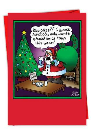 Funny Christmas Paper Card by Randall McIlwaine from NobleWorksCards.com - Rice Cakes