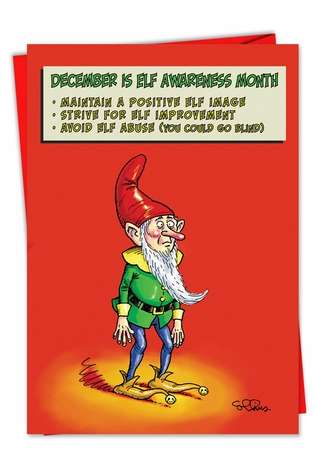 Humorous Christmas Printed Card by Daniel Collins from NobleWorksCards.com - Elf Awareness