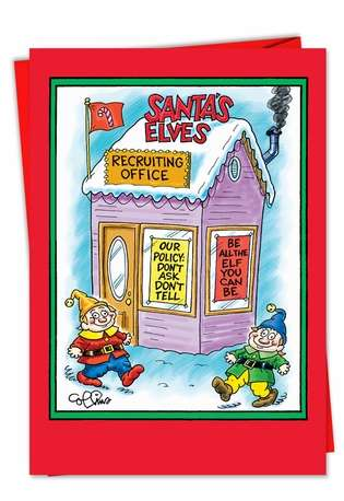 Funny Christmas Printed Greeting Card by Daniel Collins from NobleWorksCards.com - Santas Elves
