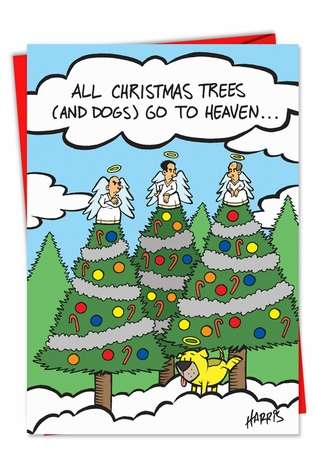 Dog Peeing On Tree In Heaven Christmas Greeting Card