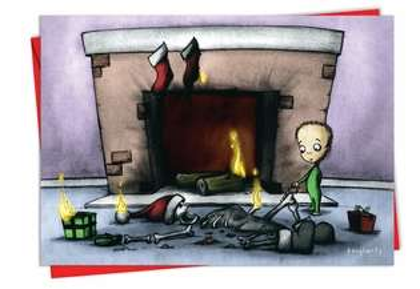 Fireplace: Humorous Christmas Printed Greeting Card