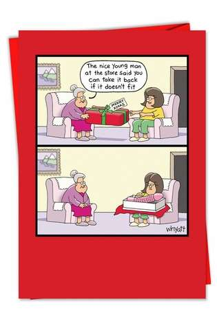 Humorous Christmas Printed Greeting Card by Tim Whyatt from NobleWorksCards.com - Doesn't Fit