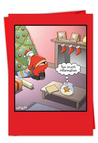 Hysterical Christmas Printed Greeting Card by Tim Whyatt from NobleWorksCards.com - Too Much Info Fish