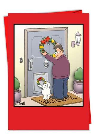 Hilarious Christmas Greeting Card by Tim Whyatt from NobleWorksCards.com - Dog Wreath