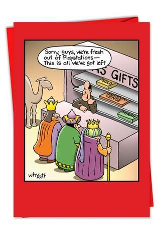 Hysterical Christmas Paper Greeting Card by Tim Whyatt from NobleWorksCards.com - Fresh Out