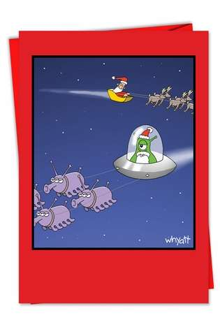 Funny Christmas Paper Greeting Card by Tim Whyatt from NobleWorksCards.com - Alien Santa