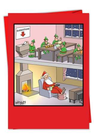 Tim Whyatt Santa Suggestion Box Inappropriate Humor Merry Christmas Greeting Card Nobleworks