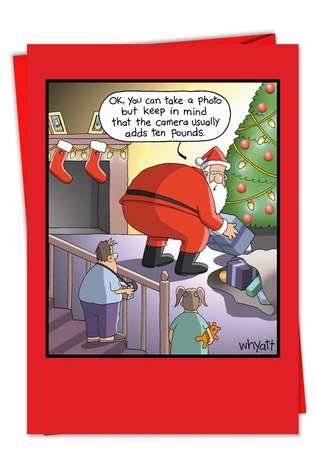 Camera Adds Ten Pounds: Hysterical Christmas Printed Greeting Card