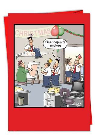 Hilarious Christmas Greeting Card by Tim Whyatt from NobleWorksCards.com - Office Party Photocopier