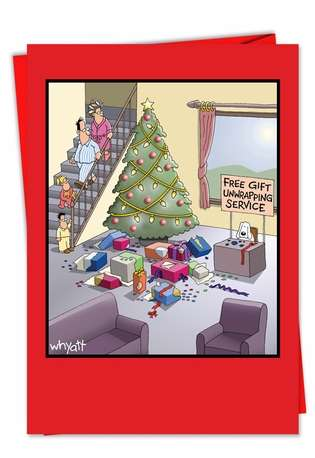 Funny Christmas Printed Greeting Card by Tim Whyatt from NobleWorksCards.com - Gift Unwrapping Service